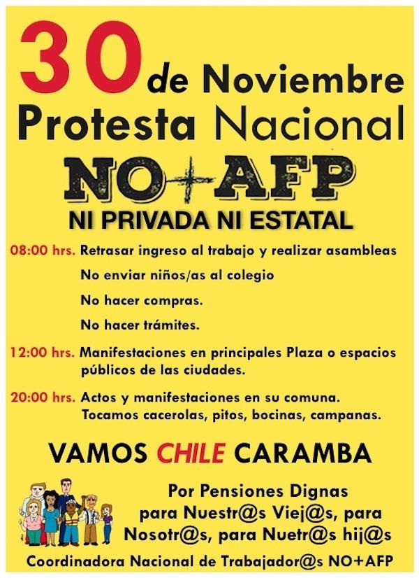 Coordinadora NO + AFP convoca a masiva manifestación para el próximo 30 de noviembre