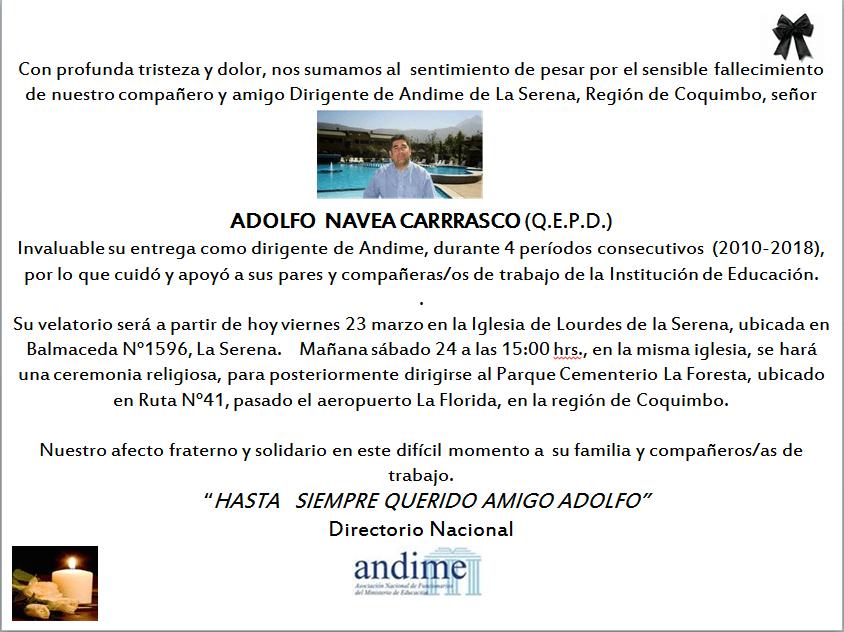 ANDIME Nacional lamenta el sensible fallecimiento de nuestro compañero Adolfo Navea Carrasco