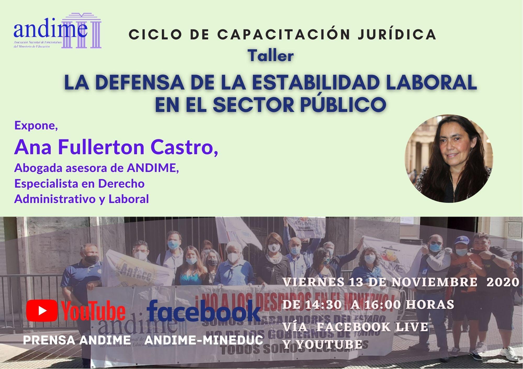 """""""Defensa de la estabilidad laboral"""", la nueva capacitación de Ana Fullerton"""
